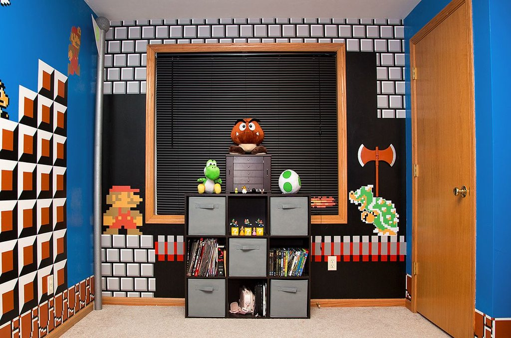 papa geek realise decoration chambre super mario bros jeu. Black Bedroom Furniture Sets. Home Design Ideas
