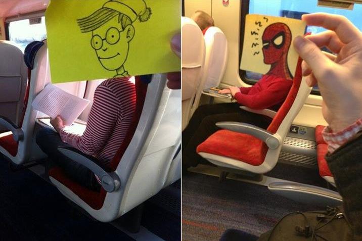 Quand un dessinateur transforme ses voisins de train en super h ros et personnages c l bres - Photo super drole ...