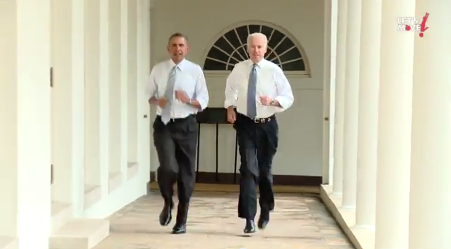 Barack obama et joe biden font un footing en chemises la for Barack obama maison blanche