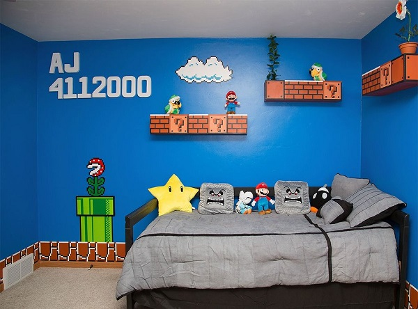 un papa geek r alise une chambre super mario bros avec les sons du jeu vid o vid os mdr. Black Bedroom Furniture Sets. Home Design Ideas