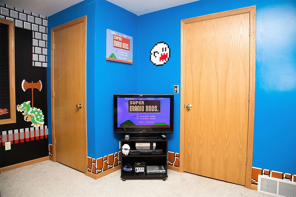 papa geek realise decoration chambre super mario bros jeu video 3 vid os mdr. Black Bedroom Furniture Sets. Home Design Ideas