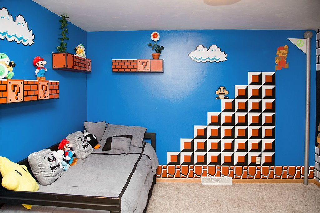 papa geek realise decoration chambre super mario bros jeu video vid os mdr. Black Bedroom Furniture Sets. Home Design Ideas