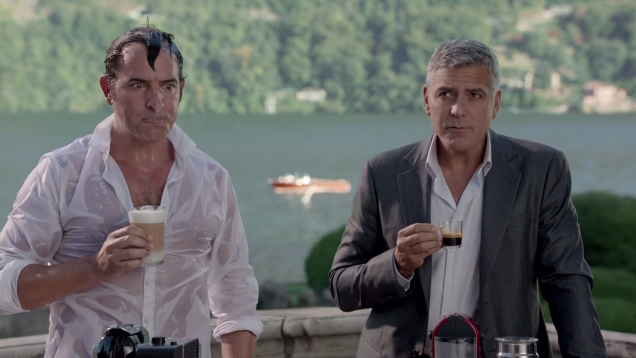 La nouvelle publicit nespresso avec george clooney et for Jean dujardin couple 2014
