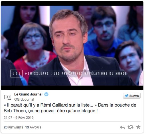 tweet-grand-journal-sebastien-thoen-swiss-leaks-remi-gaillard-dement-blague