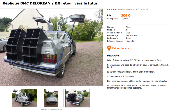 citroen bx delorean leboncoin petite annonce insolite perles vid os mdr. Black Bedroom Furniture Sets. Home Design Ideas