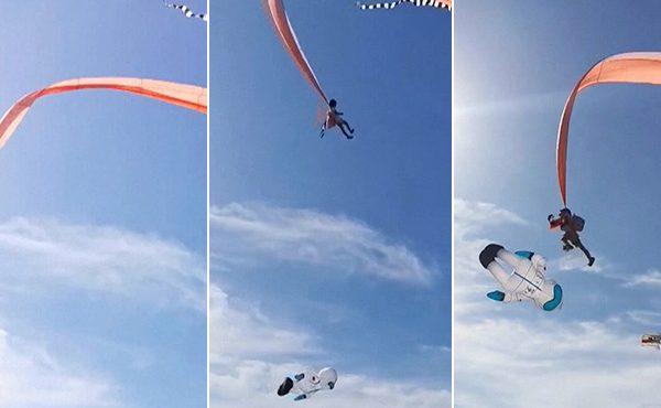 31 secondes de terreur pour une fillette accrochée à un cerf-volant
